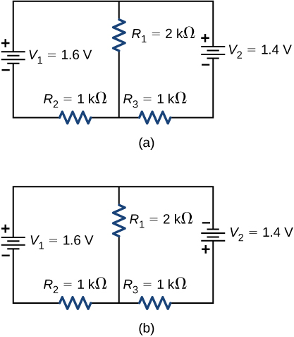 Part a shows positive terminal of voltage source V subscript 1 of 1.6 V connected to parallel branches, one with resistor R subscript 1 of 2 kΩ and second with positive terminal of voltage source V subscript 2 of 1.4 V and resistor R subscript 3 of 1 kΩ. The two branches are connected back to V subscript 1 through resistor R subscript 2 of 1 kΩ. Part b shows the same circuit as part a but the terminals of V subscript 2 are reversed.