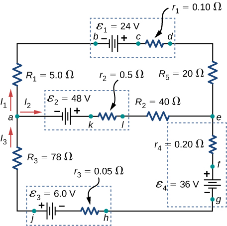 The figure shows a circuit with three horizontal branches and two vertical branches. The first horizontal branch has voltage source ε subscript 1 of 24 V and internal resistance 0.1 Ω with right positive terminal. The second horizontal branch has voltage source ε subscript 2 of 48 V and internal resistance 0.5 Ω with right positive terminal and resistor R subscript 2 of 40 Ω with right current I subscript 2. The third horizontal branch has voltage source ε subscript 3 of 6 V and internal resistance 0.05 Ω with left positive terminal. The first and second branches are connected on the left through resistor R subscript 1 of 5 Ω with upward current I subscript 1 and on the right through R subscript 5 of 20 Ω. The second and third branch are connected on the left through resistor R subscript 3 of 78 Ω with upward current I subscript 3 and on the right through voltage source ε subscript 4 of 36 V and internal resistance 0.2 Ω with upward positive terminal.