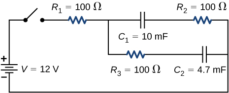 The positive terminal of voltage source V of 12 V is connected to an open switch. The other end of the open switch is connected to resistor R subscript 1 of 100 Ω which is connected to two parallel branches. The first branch has capacitor C subscript 1 of 10 mF and R subscript 2 of 100 Ω. The second branch has R subscript 3 of 100 Ω and C subscript 2 of 4.7 mF.