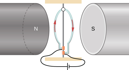 A circular, vertical loop with current flowing in it is between the poles of a magnet with a horizontal gap.