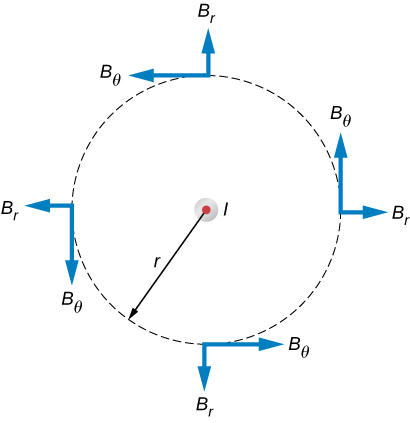 Figures shows an infinitely long, thin, straight wire with the current directed out of the page. The possible magnetic field components in this plane, BR and BTheta, are shown at arbitrary points on a circle of radius r centered on the wire.