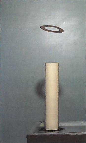 Figure is a photograph of a thin metal ring levitating above the vertical solenoid.