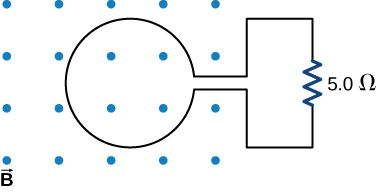 Figure shows a loop with the magnetic flux perpendicular to the loop. Loop is connected to a 5 Ohm resistor.