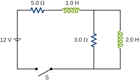 A 12 volt battery is connected in series with a 5 ohm resistor, a 1 Henry inductor, a 3 ohm resistor and an open switch S. Parallel to the 3 ohm resistor is a 2 Henry inductor.