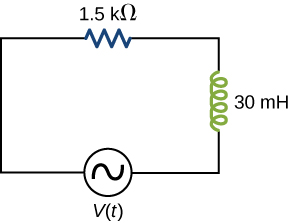 Series circuit with voltage source V parentheses t parentheses, a 30 mH inductor and a 1.5 kilo ohm resistor