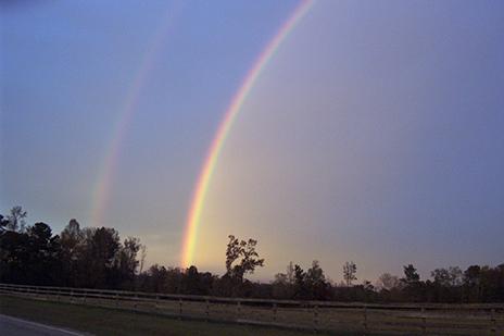 A photograph of a double rainbow.
