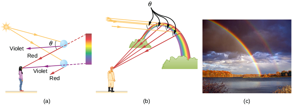 In figure a, sunlight is incident on two water droplets close to one another. The incident rays undergo refraction and total internal reflection. Red light emerges from the upper drop, making an angle theta with the original direction of the ray of sunlight. Violet light emerges at a smaller angle. Red and violet also emerge from the lower droplet at slightly different angles. A woman with her back to the sun and facing the droplets observes from a distance. The red from the upper droplet and the violet from the lower droplet reach the observer's eyes from different directions. The observer sees a band of color with violet at the bottom and red at the top. In figure b, a man looks at the rainbow, which is in the shape of an arc. Parallel rays from behind the man fall on the outside of the rainbow at different positions, reflect and refract and then reach the observer, each ray making the same angle theta with the incident ray. The rays reaching the observer are red. Figure c shows a photograph of a double rainbow in the sky.