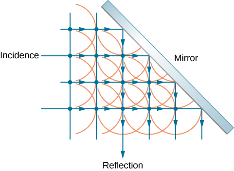 The figure shows a grid of four horizontal, parallel, equally spaced rays incident on a mirror that is tilted at forty five degrees to the rays. The rays reflect downward from the mirror. Two additional reflected rays are included from incident rays above those shown in the figure. Dots are drawn at the intersections of incident and reflected rays. Semicircles facing to the right representing incident wavelets and semicircles facing down for reflecting wavelets are centered on the dots.