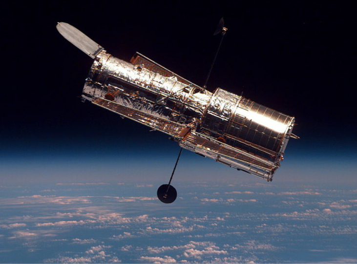 A photograph of the Hubble telescope.