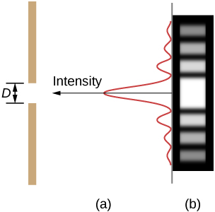 Figure a shows a vertical line on the left side. This has a gap of length D. A vertical wave is shown on the right. The wave has a high crest in the center, corresponding to the slit. The wave attenuates on both top and bottom. An arrow along the central crest of the wave, pointing towards the slit is labeled intensity. Figure b shows a strip with horizontally marked light and dark lines. The central line, corresponding to the slit is the brightest.