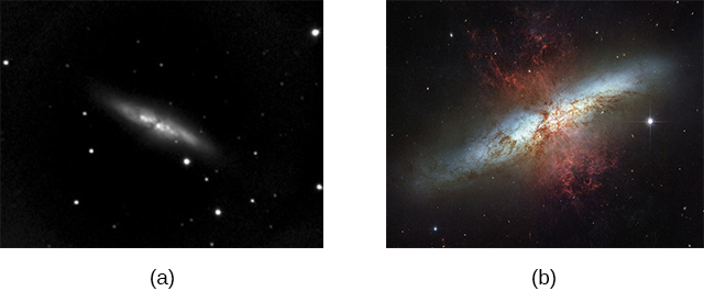 Figures a and b show telescopic images of a galaxy.