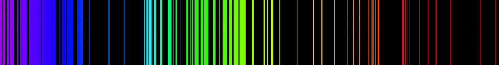Figures shows the emission spectrum of iron. Numerous overlapping emission lines are present in the visible part of the spectrum.
