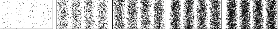 Picture shows five images of computer-simulated interference fringes seen in the Young double-slit experiment with electrons. All images show the equidistantly spaced fringes. While the fringe intensity increases with the number of electrons passing through the slits, the pattern remains the same.
