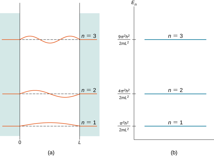 The first three quantum states of a quantum particle in a box for principal quantum numbers n=1, n=2, and n=3 are shown: Figure (a) shown the graphs of the standing wave solutions. The vertical axis is the wave function, with a separate origin for each state that is aligned with the energy scale of figure (b). The horizontal axis is x from just below 0 to just past L. Figure (b) shows the energy of each of the states on the vertical E sub n axis. All of the wave functions are zero for x less than 0 and x greater than L. The n=1 function is the first half wave of the wavelength 2 L sine function and its energy is pi squared times h squared divided by the quantity 2 m L squared. The n=2 function is the first full wave of the wavelength 2 L sine function and its energy is 4 pi squared times h squared divided by the quantity 2 m L squared. The n=3 function is the first one and a half waves of the wavelength 2 L sine function and its energy is 9 pi squared times h squared divided by the quantity 2 m L squared.