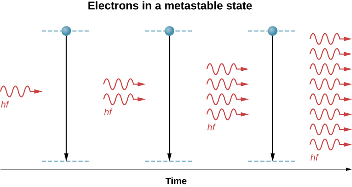 An illustration of the amplification of light in a laser. Two energy levels are shown as dotted lines, one above the other at three different times. Electrons are in the higher state which is a metastable state, and transition to the lower state. A light wave with energy h f arrives, causing the electron to drop to the lower state. Two identical, in phase photons of energy h f are emitted and absorbed by more electrons in the metastable state. These electrons drop to the lower state and emit four identical, in phase photos of energy h f, which are then absorbed by the third set of electrons. The electrons transition to the lower state and emit eight identical, in phase photons of energy h f.