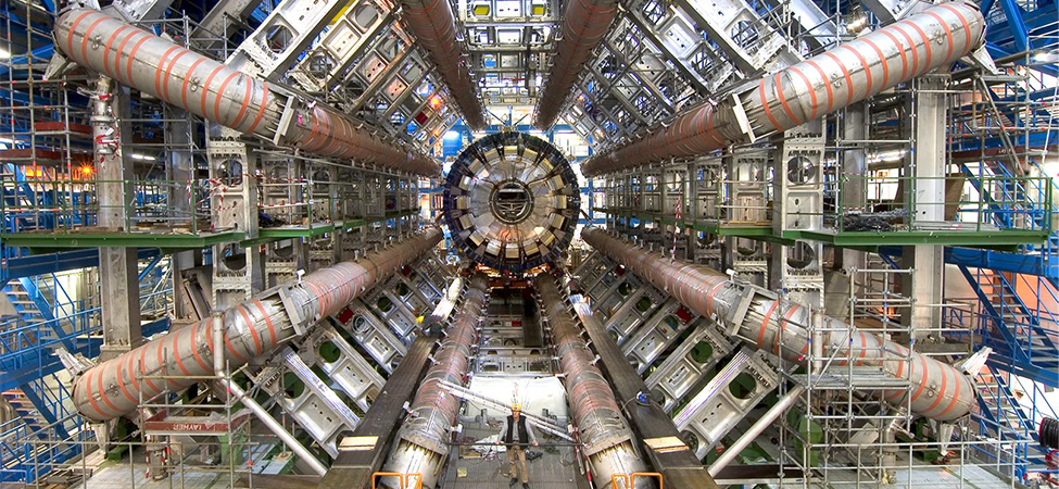 Photograph of the ATLAS detector at the Large Hadron Collider