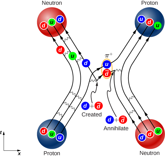 At the top left of the figure is a circle labeled neutron. Within it are three smaller circles labeled d, u, d. At the top right corner is a circle labeled proton. Within it are three circles labeled u, d, u. At the bottom right is a circle labeled neutron. Within it are three circles labeled d, d, u. At the bottom left is a circle labeled proton. Within it are three circles labeled d, u, u. Lines from d, and u in the bottom left proton connect to the d and u in the top left neutron. Lines from the d and u in the bottom right neutron connect to those in the top right proton. A line from the u in the bottom left proton connects to the u in the top right proton. In the middle of this connecting line, the u pairs with another circle, which is labeled d bar. This pair is labeled pi plus. Pointing to the circle labeled d bar from the left is an arrow, whose base is labeled d plus d bar created. A line from the base of the arrow connects to the d in the top left neutron. To the right of the circle labeled d bar is a line, the endpoint of which is labeled d plus d bar annihilate. A line connects the d in the bottom right neutron to it. Wavy lines are shown between all connecting lines.