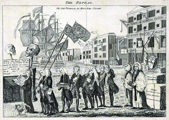 """A cartoon shows a funeral procession for the Stamp Act. Funeral-goers proceed toward a vault, above which two skulls labeled """"1715"""" and """"1745"""" are raised. Reverend William Scott leads a procession of politicians who had supported the act, while a dog urinates on his leg. George Grenville, pictured fourth in line, carries a small coffin. In the background is a dock, with ships labeled """"Conway,"""" """"Rockingham,"""" and """"Grafton."""""""