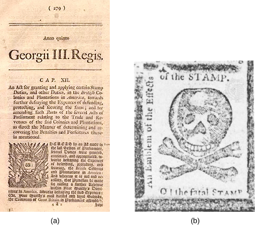 """A left-hand image shows a newspaper publication of the Stamp Act, which contains an image of a revenue stamp. A right-hand image shows a skull and crossbones, bordered by the words """"An Emblem of the Effects of the STAMP. O! the fatal STAMP."""""""
