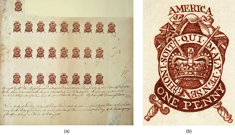 """A left-hand image shows a partial proof sheet with several rows of one-penny stamps. A right-hand image shows a close-up of one of these stamps, which depicts a mantle; a circle, with St. Edward's crown inside; and a scepter and sword, which are crossed behind the crown. The circle is labeled with the words """"Honi soit qui mal y pense,"""" the motto of the highest English order of chivalry. At the top of the design is the word AMERICA; the bottom reads ONE PENNY."""