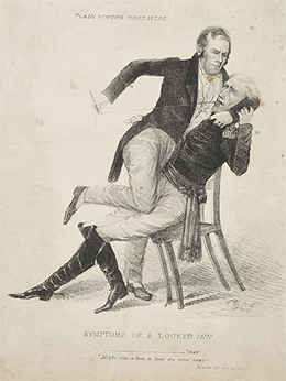 """A political cartoon, titled """"Symptoms of a Locked Jaw,"""" shows Henry Clay holding down a seated Andrew Jackson and sewing up his mouth while a paper with """"Cure for calumny"""" written on it protrudes from his pocket. """"Plain sewing done here"""" is written at the top of the cartoon."""