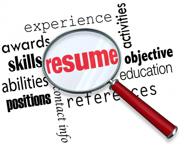 "A word cloud for ""resumé."" Includes experience, awards, skills, references, education, activities."