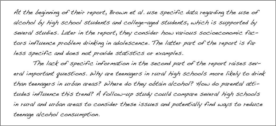 chapter what are you writing to whom and how writing for  at the beginning of their report brown et al use specific data regading the