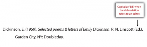 Dickinson, E (1959). Selected poems and letters of Emily Dickinson. R.N. Linscott (Ed). Garden City, NY: Doubleday.