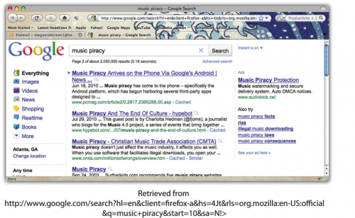 Google search result music piracy